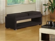 Armen Living Cancun Double Tray Bench In Black Micro Fiber (LC6019BEMFBL)
