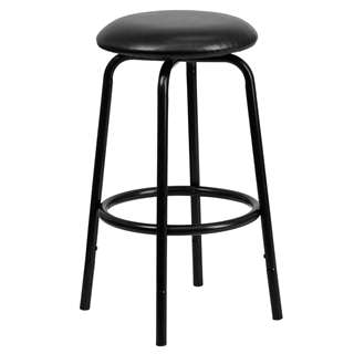 Backless Black Metal DUAL Height Counter or Bar Stool [BC-003-24-29-BK-GG]