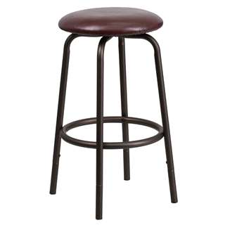 Backless Brown Metal DUAL Height Counter or Bar Stool [BC-003-24-29-BN-GG]