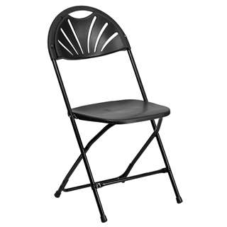 HERCULES Series 440 lb. Capacity Black Plastic Fan Back Folding Chair [BH-D0002-BK-GG]