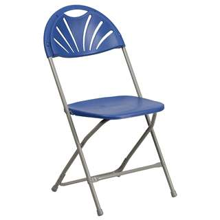 HERCULES Series 440 lb. Capacity Blue Plastic Fan Back Folding Chair [BH-D0002-BL-GG]