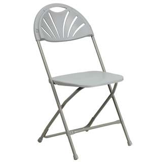 HERCULES Series 440 lb. Capacity Gray Plastic Fan Back Folding Chair [BH-D0002-GY-GG]