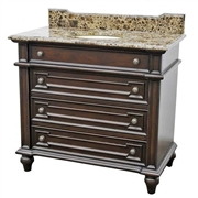 "Classic Design 40"" Single Sink Vanity-Brown Marble Top (CL781-40)"