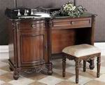 "Classic Design 55"" Single Sink Dressing Vanity-Black Granite (R52-55D)"