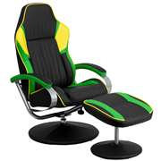Racing Style Black, Green and Yellow Vinyl Recliner and Ottoman [CH-125696-2-GG]
