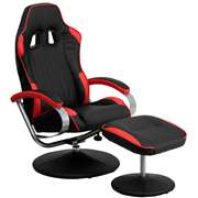 Racing Style Black and Red Vinyl Recliner and Ottoman [CH-125696-3-GG]