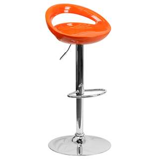Contemporary Orange Plastic Adjustable Height Bar Stool [CH-TC3-1062-ORG-GG]