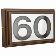 "Sunset Lighting Small Address Light Stepped 4"" Numbers Brown Vinyl with Transformer"