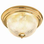 "Sunset Lighting 13"" 2 Light Flush Mount Ceiling Fixture With Clear Ribbed Glass"
