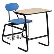 HERCULES Series Black Frame Student Combo Desk with Blue Chair [FD-LEG-BK-DESK-OPEN-BKBL-GG]