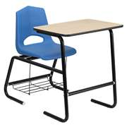 HERCULES Series Black Frame Student Combo Desk with Blue Shell Chair [FD-LEG-BK-DESK-SHELL-BKBL-GG]
