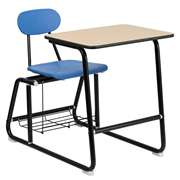 HERCULES Series Black Frame Student Combo Desk with Blue Chair [FD-SLED-BK-DESK-OPEN-BKBL-GG]
