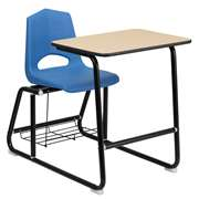 HERCULES Series Black Frame Student Sled Based Combo Desk [FD-SLED-BK-DESK-SHELL-BKBL-GG]