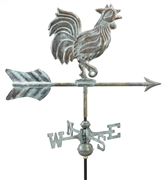 Good Directions Rooster Garden Weathervane - Blue Verde Copper w/Roof Mount