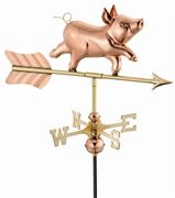 Good Directions Whimsical Pig Garden Weathervane - Polished Copper w/Roof Mount
