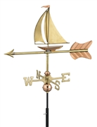 Good Directions Sailboat Garden Weathervane - Polished Copper w/Roof Mount