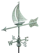 Good Directions Sailboat Garden Weathervane - Blue Verde Copper w/Roof Mount