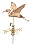 Good Directions Blue Heron Garden Weathervane - Polished Copper w/Roof Mount