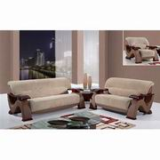 Global Furniture Fabric Sofa, Loveseat and Chair in Choc Brown wn Whiten Fabric, Dark Brown Whiten PVC and Mahogany [U2033-FCMP]