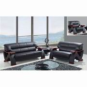 Global Furniture Bonded Sofa, Loveseat and Chair in Black White and Mahogany [U2033-RV-BL]