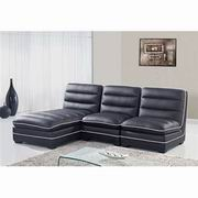Global Furniture Bonded Leather 3PC Sectional in Black [U4150-SEC]