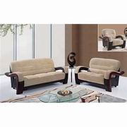 Global Furniture Fabric Sofa, Loveseat and Chair in Champion Froth White and Mahogany [U992-PVC]
