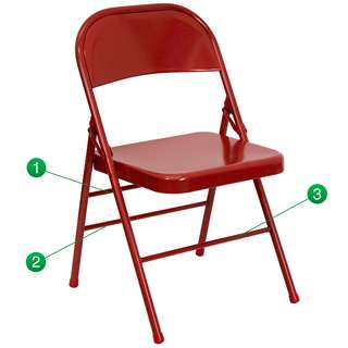 HERCULES Series Triple Braced & Quad Hinged Red Metal Folding Chair [HF3-MC-309AS-RED-GG]