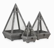 Imax, Kira Wood Terrariums - Set of 3 (10150-3)