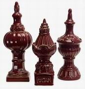 Imax, Red Finials - Set of 3 (2854-3)