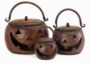 Imax, Lidded Pumpkins - Set of 3 (4628-3)