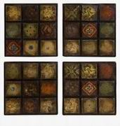 Imax, Barberry Handpainted Ceramic Wall Tiles - Set of 4 (5485-4)