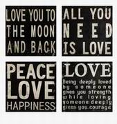 Imax, Collier Black and White Wall Quotes - Set of 4 (74066-4)