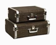 Imax, Curry Storage Suitcases with Stainless Steel Trim - Set of 2 (74109-2)