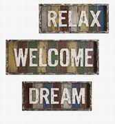 Imax, Bingham Dream, Relax, Welcome Wall Decor - Set of 3 (97174-3)