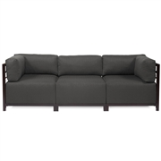 Howard Elliott Sterling Charcoal Axis 3pc Sectional - Mahogany Frame