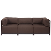 Howard Elliott Sterling Chocolate Axis 3pc Sectional - Mahogany Frame