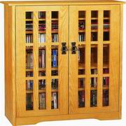 Leslie Dame Inlaid Glass Mission Multimedia Cabinet [M-371]