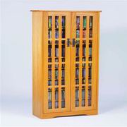 Leslie Dame Inlaid Glass Mission Multimedia Cabinet [M-477]