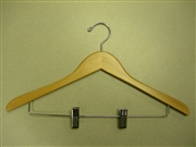 Proman Poducts, Genesis Flat Suit Hanger with Wire Clips - Natural Lacquer [GND8804]