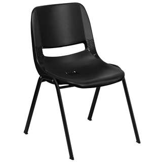 HERCULES Series 440 lb. Capacity Black Ergonomic Shell Stack Chair [RUT-12-PDR-BLACK-GG]