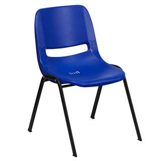 HERCULES Series 440 lb. Capacity Navy Ergonomic Shell Stack Chair [RUT-14-NVY-BLACK-GG]