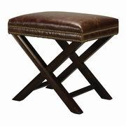 Sterling Kilorona Leather And Nail Head Cross Leg Ottoman by Sterling