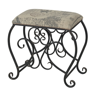 Sterling Cudworth-Scroll Leg Bench With Parisian Fabric