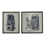 Sterling Set Of 2 Antique Camera Prints On Glass