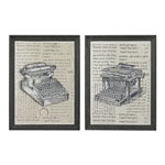 Sterling Set Of 2 Antique Typewriter Prints On Glass
