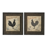 Sterling Fisher-Rooster Prints On Wood Set In Wire Mesh Matting
