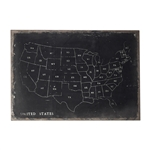 Sterling Chalk Outline Map Of Usa On Black Canvass