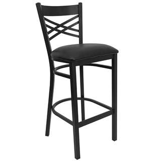HERCULES Series Black ''X'' Back Metal Restaurant Bar Stool - Black Vinyl Seat [XU-6F8BXBK-BAR-BLKV-GG]