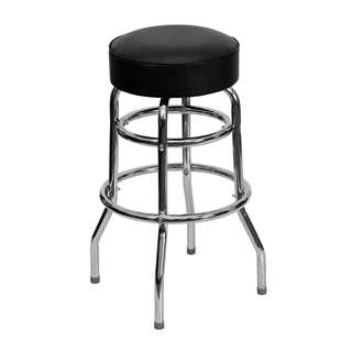 Double Ring Chrome Bar Stool [XU-D-100-GG]