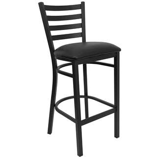 HERCULES Series Black Ladder Back Metal Restaurant Bar Stool [XU-DG697BLAD-BAR-BLKV-GG]